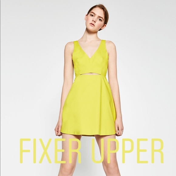 Zara Dresses & Skirts - Zara Neon Chartreuse Cut-Out Tailored Aline Dress